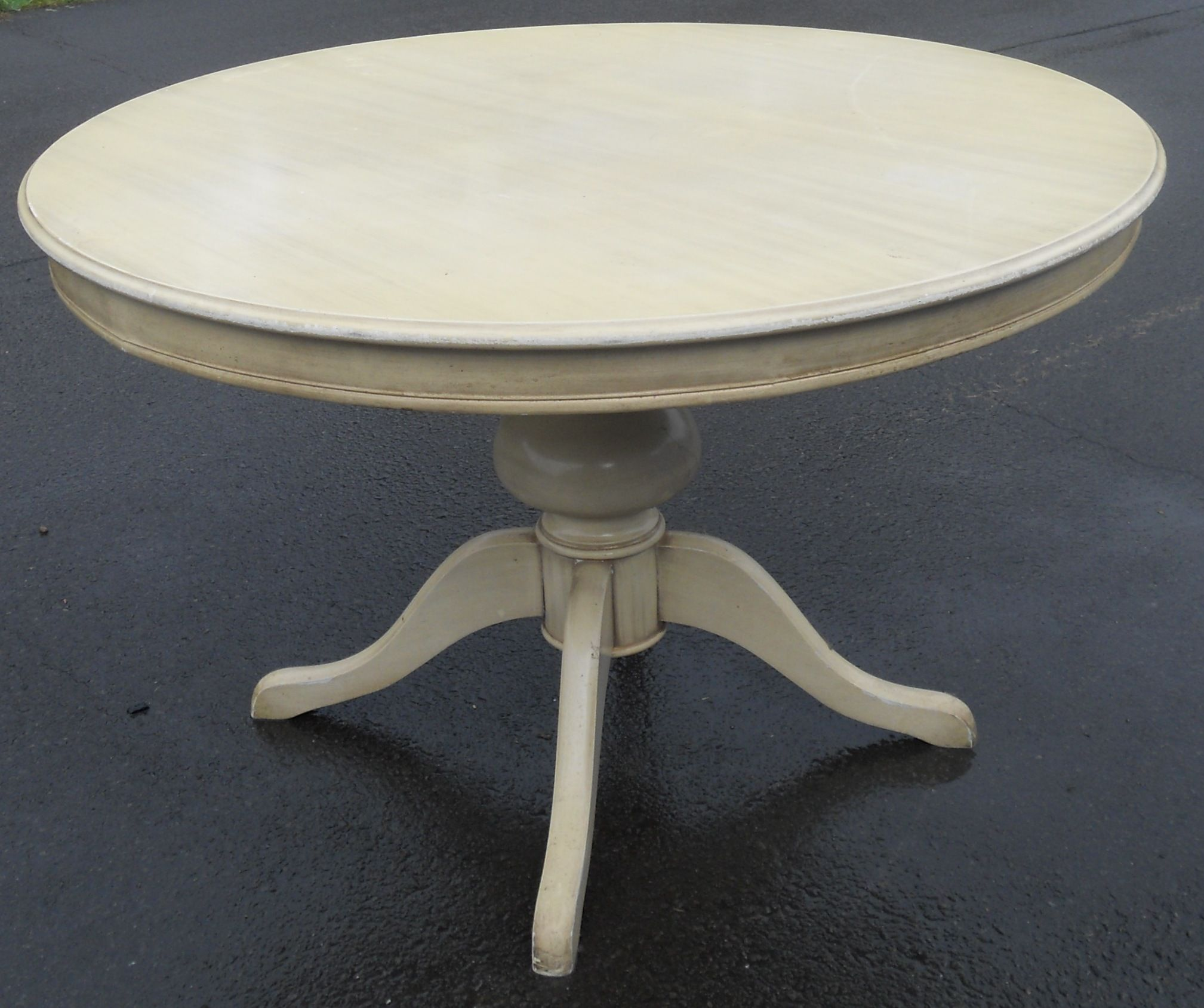 Kitchen Cabinets Metal Old Round Pedestal Painted Dining Table